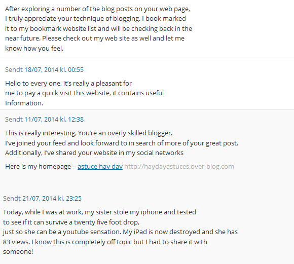 eksempler på spam-kommentarer