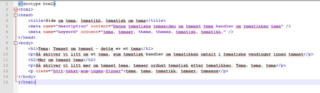 eksempel på keyword stuffing